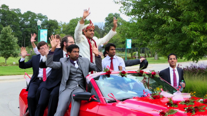 Arun and his groomsman at their wedding by ZHG.
