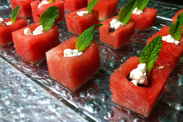 Wedding Passed Hors d'oeuvre Watermelon tower with goat cheese, micro basil and balsamic glaze