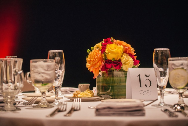 table setting and floral wedding centerpiece