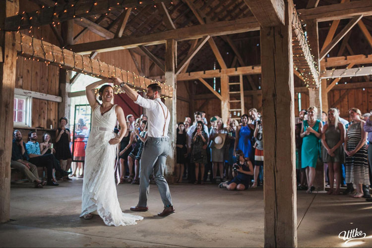 Bride and Groom Dance at Rustic Wedding