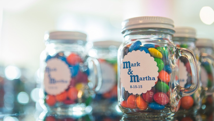 Wedding Favor: M&M Jars