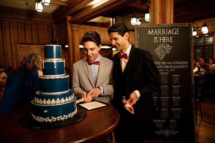 blue wedding cake by Eat Cake at a dessert station