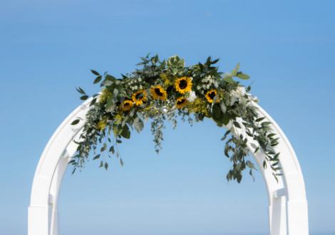 sunflower wedding florals arch