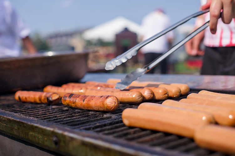Outdoor Adventure Themed Picnic with Hot Dogs on the Grill