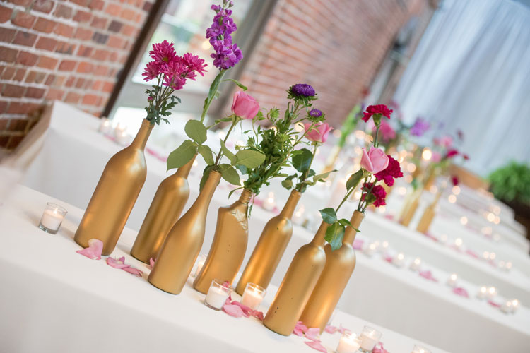Wine Bottle Wedding Centerpiece Decor