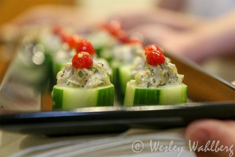 Tarragon Chicken Salad, Cucumber Cup Appetizer
