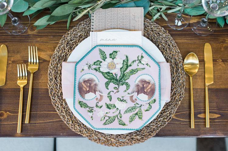 Zoo Themed Wedding Plates with Elephants