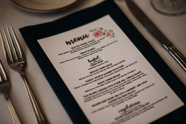 Printed Menu at Wedding Dinner
