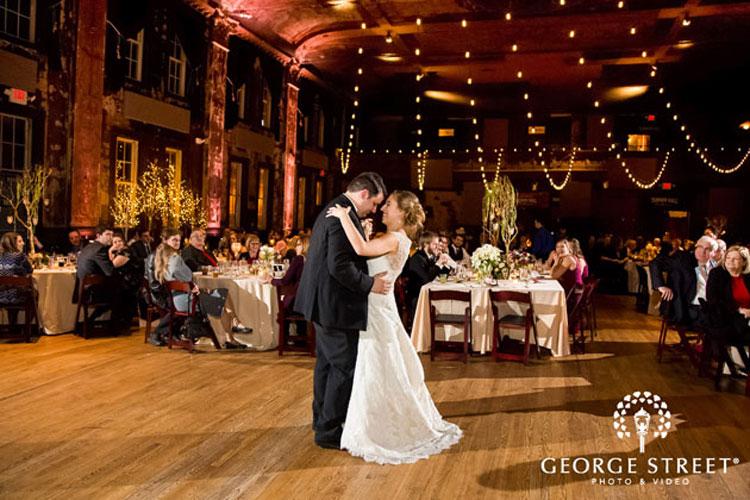Bride and Groom Dance Under Lights at Turner Hall Wedding