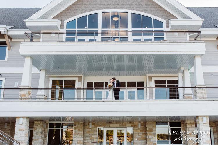 Bride and Groom at Oconomowoc Community Center Balcony