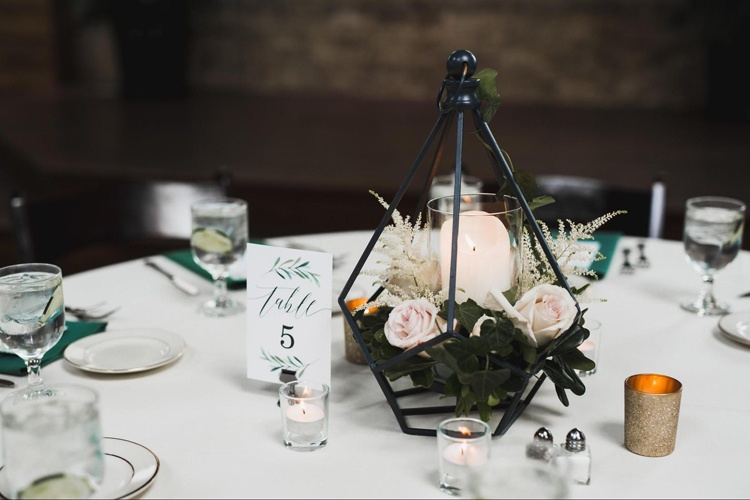 Geometric Florals and Centerpieces at Wedding