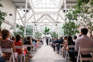 Wedding ceremony in Boerner Botanical Gardens Atrium